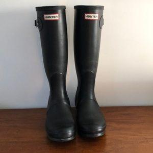 Hunter Original Tall Matte Black Rain Boots 7 Shoe